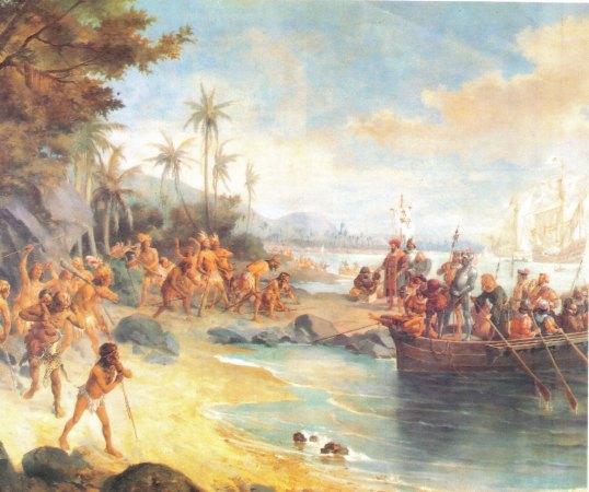 Desembarque de Cabral em Porto Seguro (estudo), óleo s/ tela. Oscar Pereira da Silva, 1904.